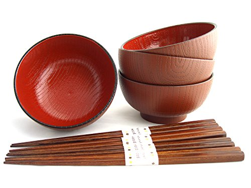 Miso Suppenschalen Set MOKUME inklusiver Essstäbchen Japan Suppenschüssel Ø 11,6 cm, H. 6 cm