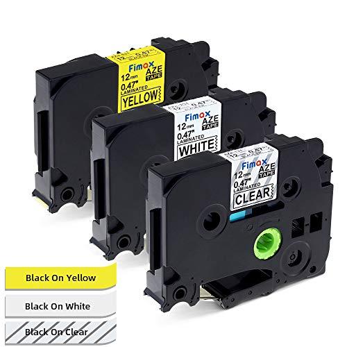 Nastro per Etichette Fimax Compatibile In sostituzione di Brother P-Touch TZ 12mm TZe-131 TZe-231 TZe-631 Laminato per PT H105 H107 1000 1010 H100LB, Multicolore, 3Pz.