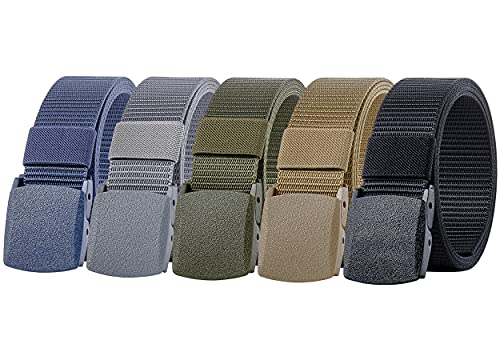 Ginwee 5 Pack Nylon Military Tactical Belt Webbing Canvas Outdoor Web Belt with Plastic Buckle