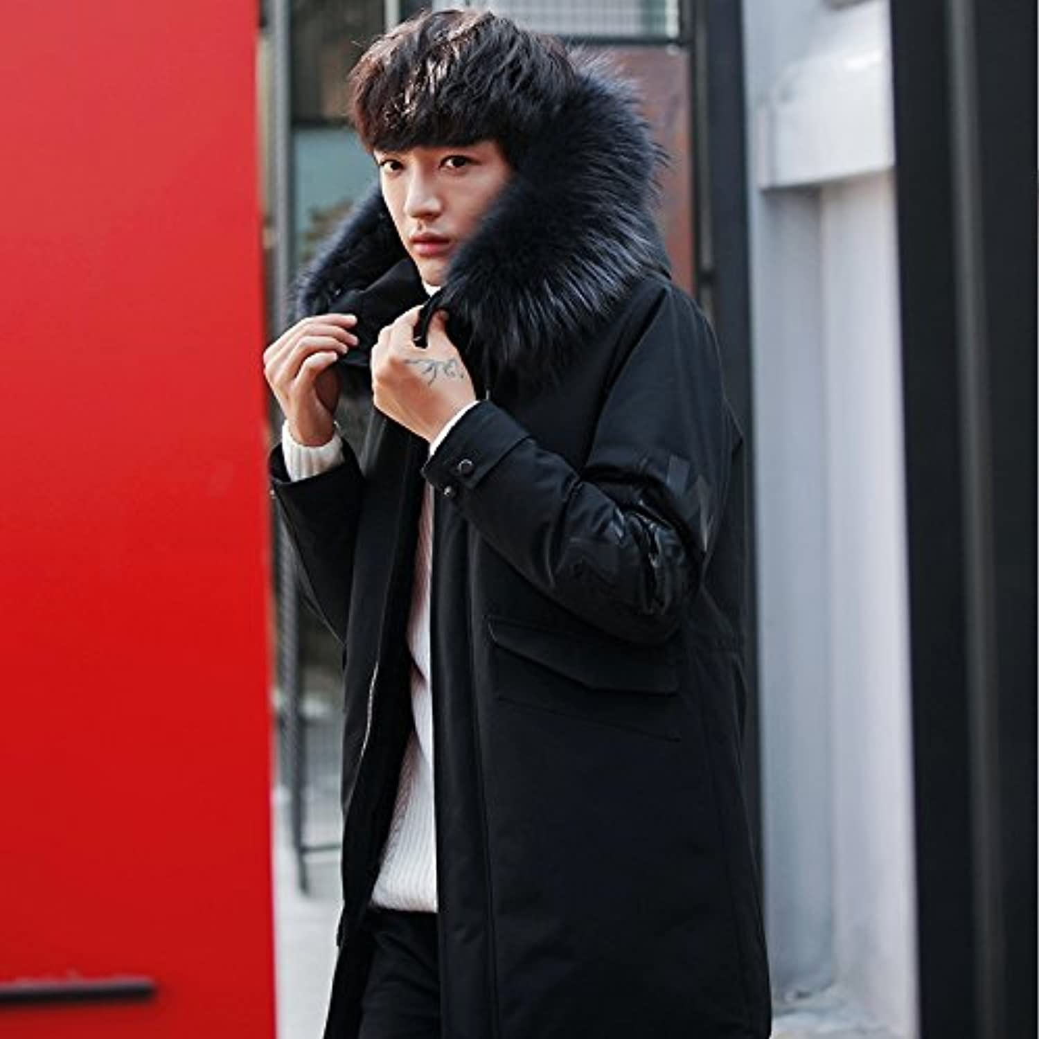 ZHUDJ Men'S Jacket Winter Jacket Mens Long Coat Hat Youth Even Fur Collar