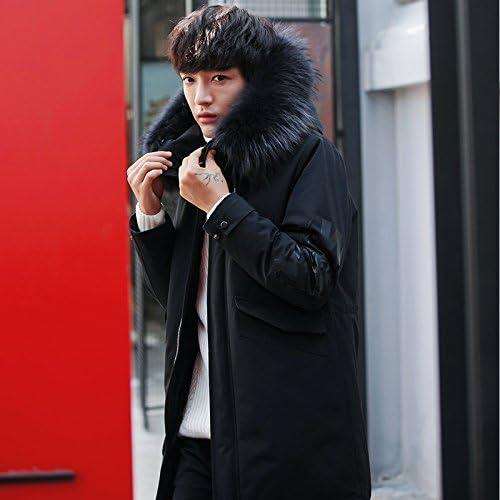 ZHUDJ Men's Jacket Veste d'hiver - Mens Long Manteau Col De Fourrure Même Jeunes Hat