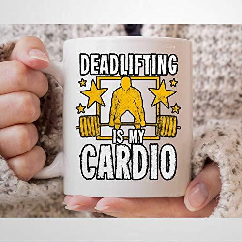 Deadlifting is my cardio tazza da caffè con sollevamento pesi regali per palestra C-oach e istruttore di fitness bodybuilder sollevamento barbell tazza da 325 ml