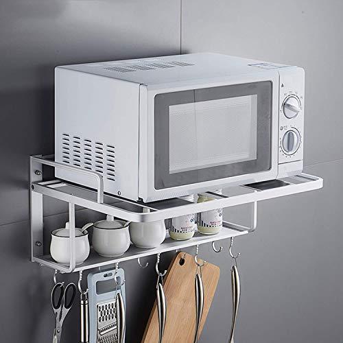 Soporte para horno de microondas de doble capa colgante 3 en 1, soporte de pared para horno de microondas con 10 ganchos, organizador de estante de almacenamiento de cocina