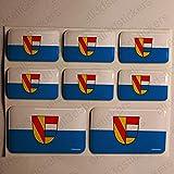 All3DStickers Aufkleber Pforzheim Deutschland Flagge 8 x Flaggen von Pforzheim Deutschland Rechteckig 3D Kfz-Aufkleber Gedomt Fahne