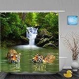 OPQRSTQ-O Cortina de baño Repelente al Agua,Tigres siberianos en Agua Cascada Piscina Bosques Natación Imagen de Tema Natural asiático,Cortinas de baño de poliéster de diseño 3D con 12 Ganchos