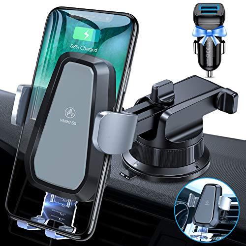 VANMASS Automatisch Wireless Charger Auto Handyhalterung Motor Betrieb 10W Auto Ladegerät Kfz Qi Ladestation Auto Lüftung & Saugnapfshandyhalter für iPhone 12/11/XS/XR Samsung S20/S10, alle Qi Geräte