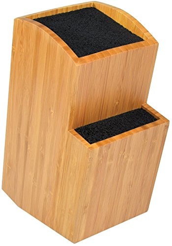 Bamboo Universal Knife Block  Extra Large Twotiered Slotless Wooden Knife Stand Organizer amp Holder  Convenient Safe Storage for Large amp Small Knives amp Utensils  Easy to Clean Removable Bristles