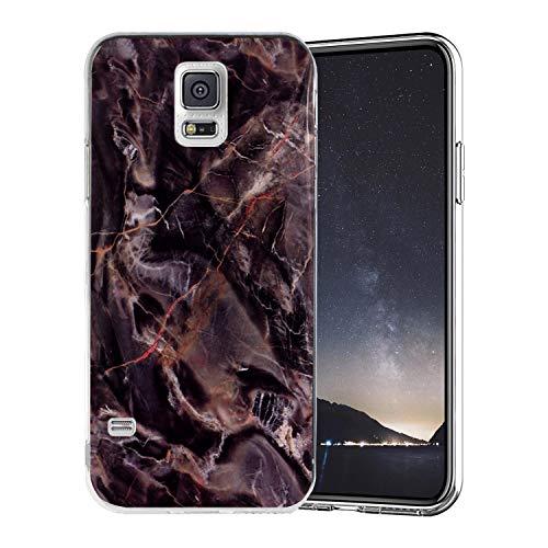 Misstars Coque en Silicone pour Galaxy S5 Marbre, Ultra Mince TPU Souple Flexible Housse Etui de Protection Anti-Choc Anti-Rayures pour Samsung Galaxy S5 / S5 Neo, Marron