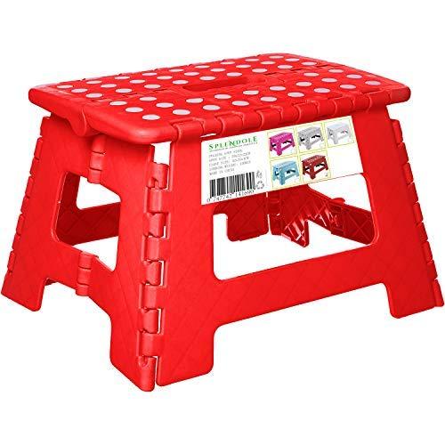 SPLENDOLE - Sgabello pieghevole piccolo 22 cm, con piano antiscivolo, pieghevole, in plastica, facile da riporre, perfetto per la cucina o il bagno (rosso)