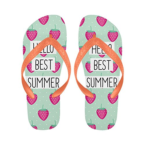 INTERESTPRINT Men Non-Slip Flip Flop Slippers, Hello Best Summer Strawberries Fruit Beach Slim Thong Sandal Outdoor Casual Footwear
