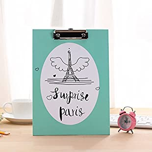 Eiffel Tower Clipboard A4 Paper File Folder Portable Writting Pad Document Folder(Green)
