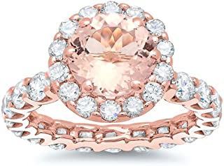 Bel Dia 18k Rose Gold Morganite Diamond Eternity Engagement Ring