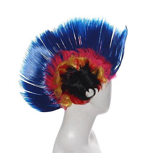 Hallowmas Perruque, Tonsee Coiffure Hallowmas mascarade Punk Mohawk Mohican crête-de-coq cheveux perruque Bleu