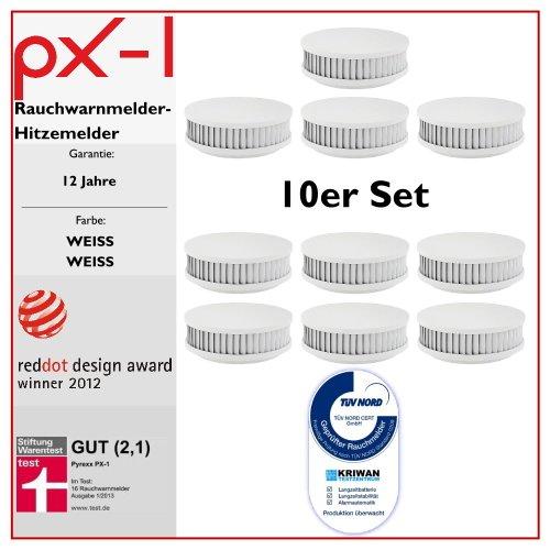 PYREXX PX-1 , 10er-Set, Rauchmelder 10 Jahre Batterie mit Magnet-Halterung ohne Bohren und LED-Blinken, zertifiziert nach Q-Label, weiß