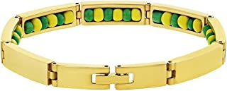In Season Jewelry Stainless Steel Gold Tone Green Yellow Santeria Babalawo Orula Bracelet