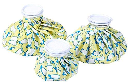 Paquete de 3 bolsas de hielo reutilizables para heridas y terapia de dolor, 3 tamaños surtidos, estampado de pingüinos