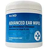 Pet MD Cat and Dog Ear Cleaner Wipes - Advanced Otic Veterinary Ear Cleaner Formula - Dog Ear Infection Treatment Helps Eliminate Ear Infections - 100 Alcohol Free Ear Wipes with Soothing Aloe Vera
