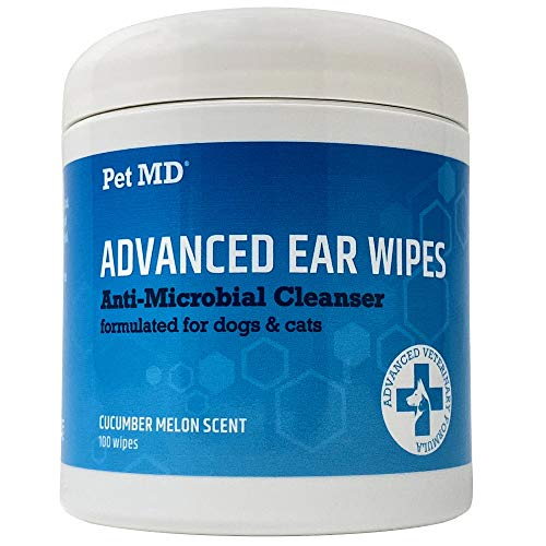 Pet MD Cat and Dog Ear Cleaner Wipes - Advanced Otic Veterinary Ear Cleaner Formula - Dog Ear Infection Treatment Eliminates Yeast and Infections - 100 Alcohol Free Ear Wipes with Soothing Aloe Vera