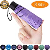 Goothdurs Mini Travel Compact Windproof Umbrella - Small Folding Lightweight Sun & Rain Umbrellas with 95% UV Protection for Women Men