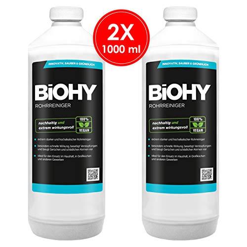 BIOHY Profi Rohrreiniger 2 x 1 Liter Flaschen | Flüssiger, hochkonzentrierter Abflussreiniger | Geruchsneutral | Für alle Verstopfungen | EXTRA STARK