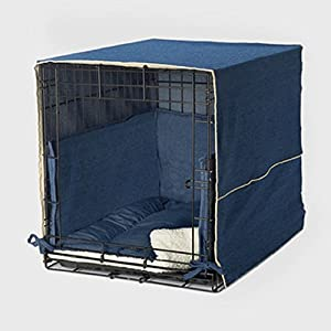 Pet Dreams Complete 3 Piece Crate Bedding Set! The Original Crate Cover, Crate Pad and Crate Bumper for Double Door Dog Crate. X-Large Fits 42' Midwest Crate -Denim Blue