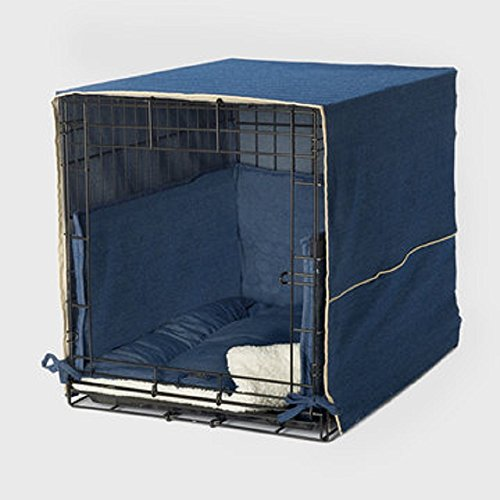 """Pet Dreams Complete 3 Piece Crate Bedding Set! The Original Crate Cover, Crate Pad and Crate Bumper for Double Door Dog Crate. Large Fits 36"""" Midwest Crate -Denim Blue Dog Dogs Supplies Top"""