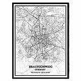 Braunschweig Deutschland Karte Wandkunst Leinwand drucken