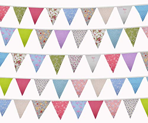 Vicor 50feet Outdoor Bunting Flags,48PCS Vintage Birthday Bunting,Garden Outdoor Bunting Pennants for Wedding Birthday Parties and Girls Bedroom