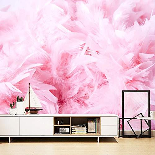 Papel tapiz mural 3D hermosa pluma rosa arte pintura de pared moderna sala de estar dormitorio TV Fondo decoración del hogar-350x256cm