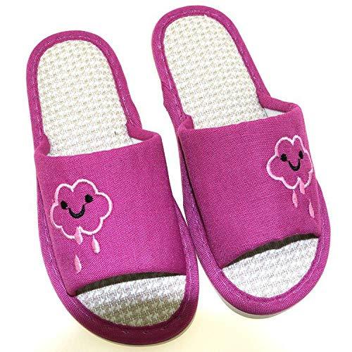 WDDNTX damespantoffel, katoenen slippers, Smiley Jugovane lila kant, antislip, comfortabel, zacht en licht, van Silenzio de herfst winter home indoor damesslippers