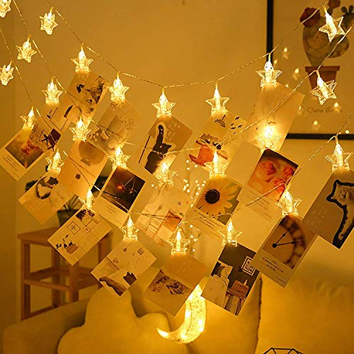 5M 50LED Star Photo Clip String Lights Photo Peg Fairy Lights Battery Powered Hanging Fairy Lights for Bedroom Wall Valentine's Day Wedding Birthday Party Decorations Warm White