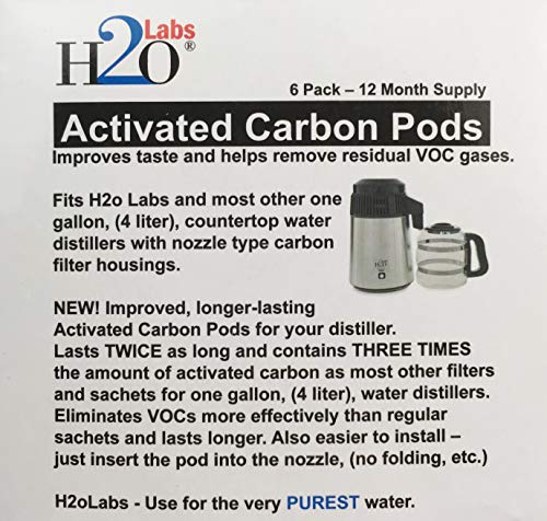 Activated Carbon Filter Mega Pods for Water Distillers, (Full Year Supply). More Activated Carbon and better VOC removal than other brands.