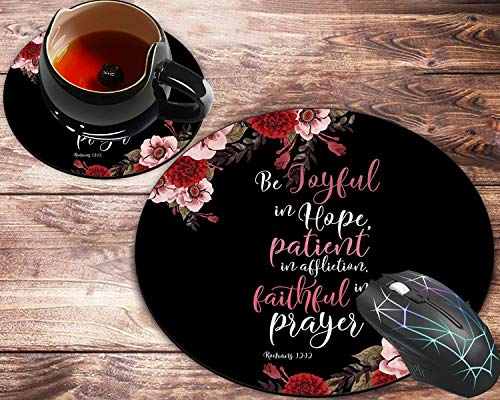 Round Mouse Pad and Coaster Set, Christian Bible Romans 12:12 Mousepad, Non-Slip Rubber Base Gaming Mouse Pads for Working Or Game