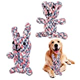 FANTESI 2 Pack Dog Rope Toys, Pet Puppy Rope Chew Toys Teeth Dogs Treats Toys Dogs Ball Knot Training toy for Small Middle Dog (Bear, Rabbit)