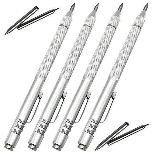 NEPAK 4 Pack Tungsten Carbide Scriber with Magnet,with Extra 4 Replacement Marking Tip,Etching Engraving Pen for Glass/Ceramics/Metal Sheet