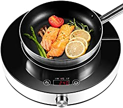 Induction Cooktop, Easepot 1800w Countertop Induction Burner 13'' Hot Plate, 10 Temp Levels, 9 Power Levels, Timer, Auto-Shut-Off, Touch Sensor Control,Rotaty Switch,LED Display,Crystal Glass Surface