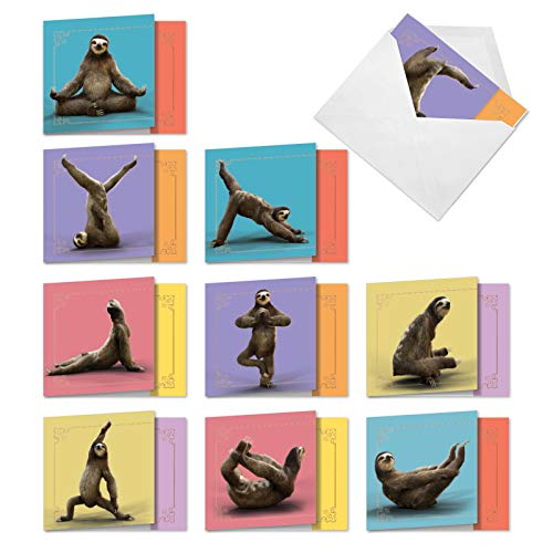 Sloth Yoga - 10 Cute Thank You Greeting Cards with Envelopes (4 x 5.12 Inch) - Adorable Exercise and Gratitude Notecard Set AMQ6255TYG-B1x10