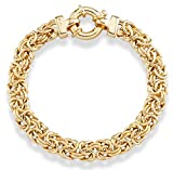 MiaBella 18K Gold Over Sterling Silver Italian 9mm Classic Byzantine Link Chain Bracelet for Women, 7, 7.5, 8 Inch 925 Handmade in Italy (7.5 Inches (6.25'-6.5' wrist size))