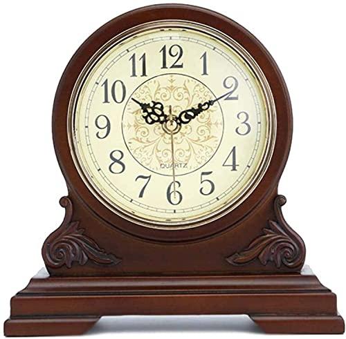 X&Z-XAOY Reloj De Repisa Reloj De Manto De Madera Decorativo De Pilas Silencio para Sala De Estar, Chimenea, Oficina, Cocina, Escritorio, Estantería Y Regalo De Decoración del Hogar
