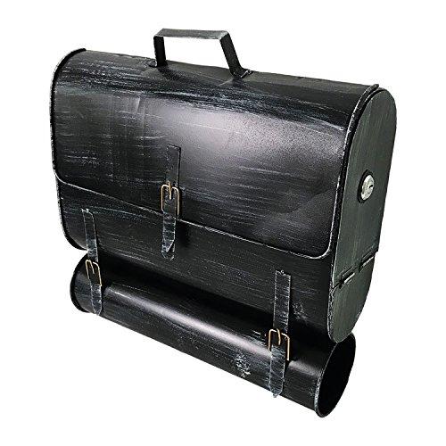 Mojawo Wandbriefkasten Briefkasten Postkasten im Taschendesign Zeitungsrolle Zeitungsfach Post Wandmontage Stahl lackierte Oberfläche Antik-Look