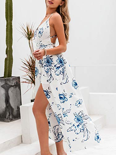 BerryGo Women's Sexy Deep V Neck Backless Floral Print Split Maxi Party Dress White