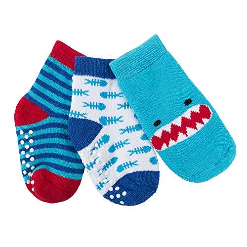 Zoocchini Calzini Antiscivolo Grip+Easy, Pacco Da 3-Sherman Lo Squalo Chaussettes, Multicolore (Shark Shark), Unique (Taille Fabricant: OS 0-24M) (Lot de 3) Mixte bébé