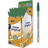 BIC 8373629 Cristal Original - Caja de 50 unidades, bolígrafos punta media 1.0 mm, color verde