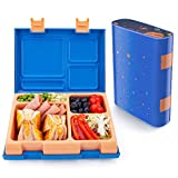 Lunch Box For Kids, Four-Sided Printing Larger Bento Box Lunch Containers For Food, Remova...