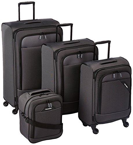 Juego de Maletas Blandas travelite de 4 Ruedas Tallas L/M/S con candado TSA, el Equipaje de Mano Cumple con Las Normas de Equipaje de a Bordo de IATA, Derby: Maleta de Ruedas Elegante en Dos Tonos