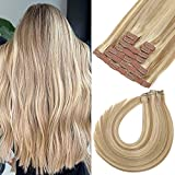 Clip in Human Hair Extensions 24 Inch 120g 9pcs Ombre Light Blonde Highlighted Golden Blonde Hair Extensions Clip in Human Hair Long Remy Clip in Hair Extensions Real Human Hair Straight Double Weft