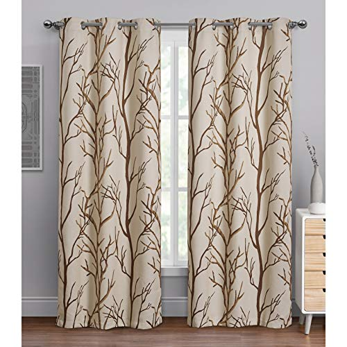 """VCNY Home   Kingdom Collection Printed Blackout Microfiber Curtain Panel with Grommets, Modern and Contemporary Style Window Dressing for Home Décor, 40"""" x 84"""", Taupe"""