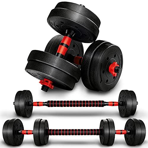 RE:SPORT 2 in 1 Hanteln Set 15 kg   Hantelset verstellbar   Kurzhantel & Langhantel   Sternverschlüsse & Verbindungsrohr