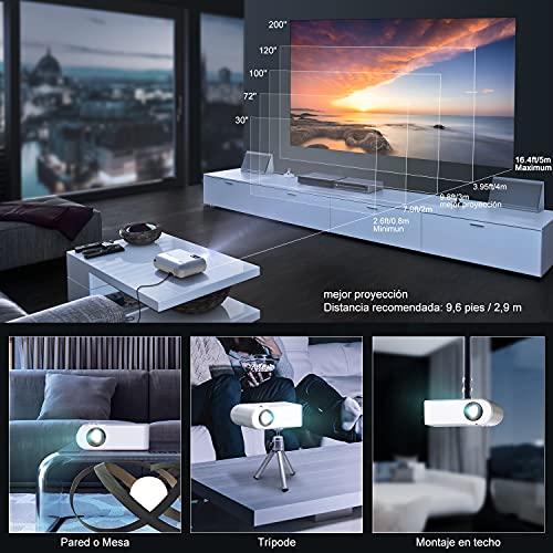 "Proyector WiFi, YABER Mini Proyector Portátil 6000 Lúmenes 1080P Full HD[Pantalla de Proyector Incluida], Cine en Casa 200"" Duplicar Pantalla para Android/iPhone Smartphone iPad,HDMI/USB/VGA/AV"