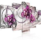 murando - Cuadro en Lienzo 200x100 cm Flores Impresión de 5 Piezas Material Tejido...